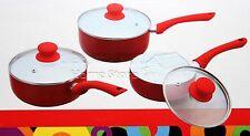 PRO 3pc Ceramic Cookware Set Saucepan Pot With Lids Frying Induction Pan Red