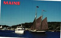 Vintage Postcard - Boats & Ships - The Old And New Boothbay Harbor Maine #2831