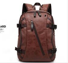 2016 Mens Brown Leather Backpack Rucksack Travel School Laptop Shoulder book Bag