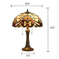 "Victorian Stained Glass Table Lamp Tiffany Style 16"" Shade"