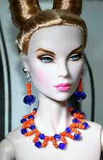 "Unique by Grazia/Schmuckset/pour 16"" dolls/tulabelle, Fashion Royalty/Cobalt-Orange"