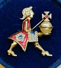 Rare Early Signed Boucher MB Metallic Enameled Royal Man Servant With Orb Brooch
