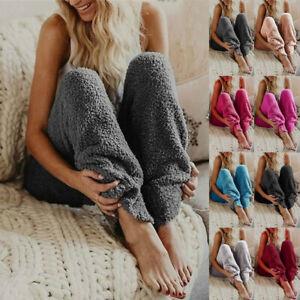 Womens Fluffy Fleece Loungewear Pants Pyjama PJ Bottoms Trousers Nightwear 6-24