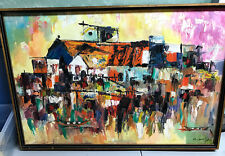 Vintage Expressionist FISHING VILLAGE Oil on Canvas Painting - Mid-Late Century