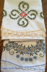 2 New Pair Embroidered Standard Pillowcases W/Crochet Edges Gorgeous Needlework