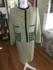 CAILAN'D Italy pret-a-porter  Green WOOL BLEND 2pc DRESS /JACKET  SUIT SIZE US 8