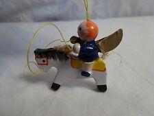 Vtg ANGEL onWHITE HORSE  Miniature WOODEN Painted CHRISTMAS ORNAMENT