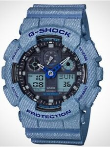 Casio G-Shock *GA100DE-2A Denim Pattern Blue Anadigi Watch COD PayPal