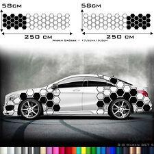 Aufkleber Auto Seitenaufkleber Waben XL Rauten Dekor Benz KFZ Sticker Tuning S8