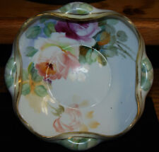 Nippon Hand Painted Roses Gold Trimmed Pinched Sides Bowl