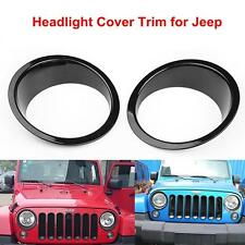 2x Bezels Front Light Headlight Trim Cover ABS For 2007-2016 Jeep Wrangler JK
