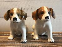 "Vintage Pair Set 2 Ceramic Beagle Hound Puppy Dog Figurines 5"" Floppy Ears"