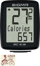 SIGMA BC 9.16 WIRED BLACK BICYCLE SPEEDOMETER COMPUTER