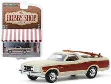 1973 Ford Ranchero Squire Beige with Woodgrain and Two Surfboards The Hobby Shop