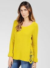 NWT Ella Moss Knit Tunic Sweater Cardigan Jumper Pullover Swag Lime Yellow M L