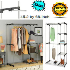 Closet Organizer Shelves Hanging Double Rod Free Standing Clothes Storage Rack