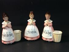 Enesco Mother in the Kitchen Prayer Lady Pink (2) Toothpick Holders (1) Shaker
