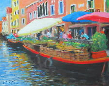 "Well Listed Nino Pippa Original Oil Painting Venice Floating Market 11""X14"" COA"
