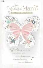 Mother on Mother's Day Card EX Large Size 8 Page Lovely Verse Butterfly Design