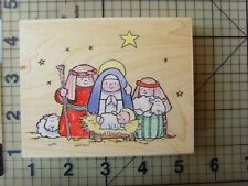 "Margaret Sherry For Penny Black Wood mounted rubber Stamp ""the manger"" Christmas"