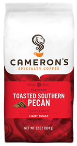 Cameron's Coffee Roasted Whole Bean Coffee, Flavored, Toasted Southern Pecan, 32