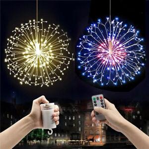 198 LED Firework Starburst String Fairy Lights Hanging Outdoor Garden Christmas