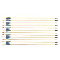 "Wooden 28"" 30"" 32"" Archery Arrows Field Hunting & Target Broadhead Tip Pk of 12"
