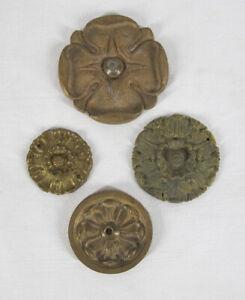 Lot 4 Antique Cast Brass Ornamental Furniture Elements Floral Spheres yqz