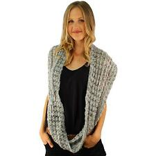 Winter Chunky Crochet Bubble V Knit Long Ski Circle Loop Infinity Scarf Gray
