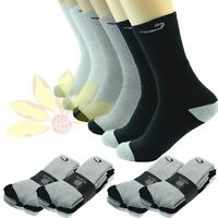 New 3 6 9 12 Pairs CREW Mens Solid Sports Socks Cotton 10-13 LOT Check USA LONG