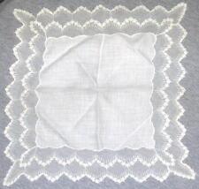 "VINTAGE Needle Run Net Lace Bridal Handkerchief  12"" sq. White, Lot # 7"