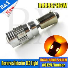 2x BAX9S H6W LED Side Light Bulbs ERROR FREE CANBUS 6SMD CAR DC12V Amber Yellow