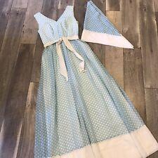 New listing Vintage 60s Retro Polkadot Maxi Dress W/ Wrap Cotton Rayon Daisy