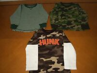Lot of 3 Baby Boys Toddlers Old Navy Carter's Long Sleeve Shirts Camouflage 4T