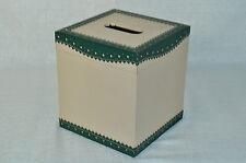 LABRAZEL Spectator Green Leather Tissue Box Cover Jamie Drake Italy New