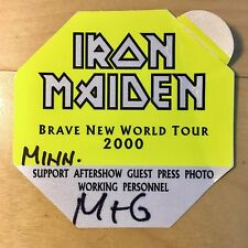 Iron Maiden - Brave New World Tour Original 2000 Backstage Pass Patch NEW RARE!!