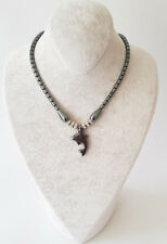 Halskette Kette Hämatit Stein(Blutstein)  Delphin