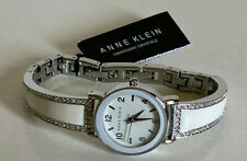 NEW! ANNE KLEIN AK SWAROVSKI CRYSTALS WHITE ENAMEL SILVER BANGLE WATCH $85 SALE