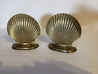 "Vtg Solid Brass Book Ends Clam / Scallop Shell 5"" tall x 4.75"" - FREE SHIP"