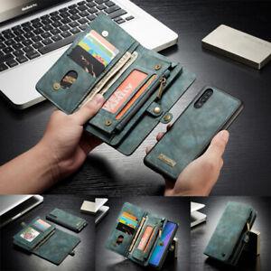 For Huawei P20/P30 Pro Mate 20 Detachable Leather Wallet Zipper Purse Case Cover
