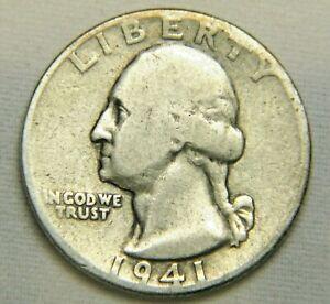 1941 90% Silver Washington Quarter Circulated