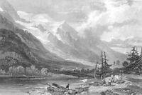 SWITZERLAND, CHAMONIX VALLEY MONT BLANC ~ Old 1832 Landscape Art Print Engraving