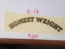 "TOLEDO HONEST WEIGHT ANTIQUE SCALE & COIN MACHINE DECAL  #S-13  TOLEDO  5"""