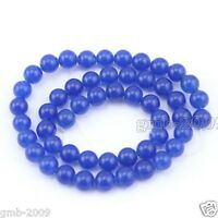 "8mm Natural Sapphire Blue Jade Round Gemstone Loose Beads Strand 15""AAA"