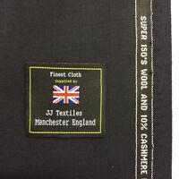 s.SELKA Dark Navy Super 150's Wool & 10% Cashmere Suit Fabric. (280g)