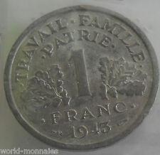1 franc état français 1943 légère : TTB : pièce de monnaie française
