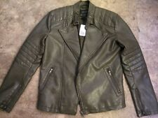 Men's PU Leather Biker Moto Bomber Size Small Jacket New with Tag