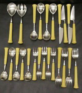 24 Pieces Vintage Noritake Gaiety Japan Yellow Ceramic Flatware Silverware Set