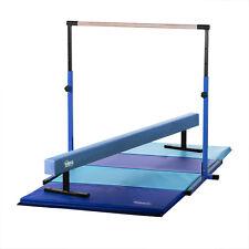 Blue Horizontal Bar and Balance Beam with Blue/Light Blue Gymnastics Mat Combo