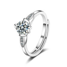 New Exquisite Womens 925 Sterling Silver CZ Cubic Zirconia Solitaire Ring Size 8
